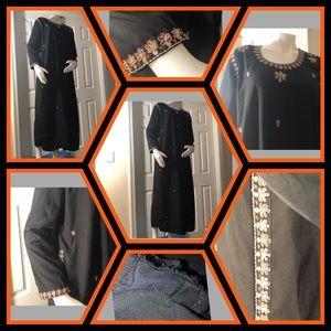 Long Black Dress Caftan Vintage Medium